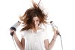 canvas print picture - wild woman with two hairdryer (white background))