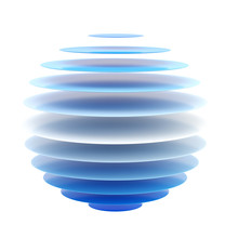 Abstract Blue Layer Sphere Isolated