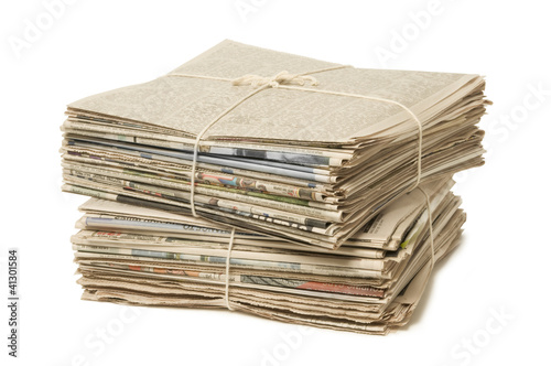 Fotografie, Obraz  Stack of two newspaper bundles for recycling