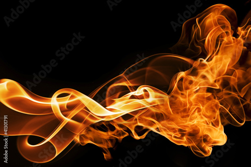 Tuinposter Vuur fire and smoke on a black background