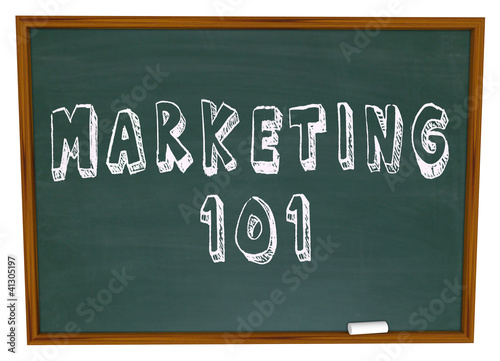 Photo  Marketing 101 Words on Chalkboard Basics