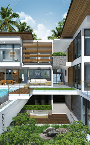 3D render of building tropical modern house resort & 3D render of building tropical modern house resort - Buy this stock ...