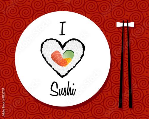 Fotografia, Obraz  I love sushi restaurant background