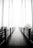view on pedestrian wooden bridge in mist - 41330753