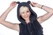 canvas print picture - Beauty Frau mit lustigem Fashion Outfit lacht frisch