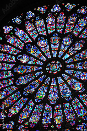 Spoed Foto op Canvas Stained vitraux de notre dame de Paris 1