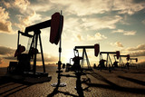 Oil pumps on the sunset sky - 41342384