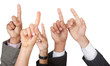 Raised hands isolated over white - business concepts.