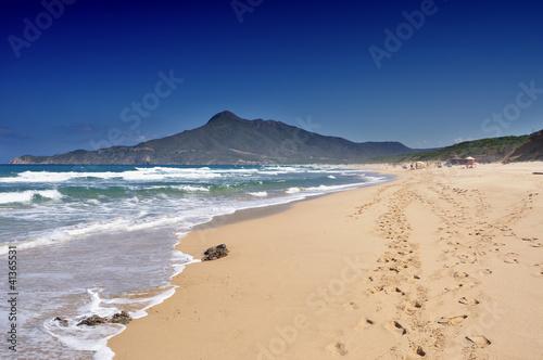 Sardegna, Buggerru, spiaggia di San Nicolao, vista di Portixeddu Canvas Print