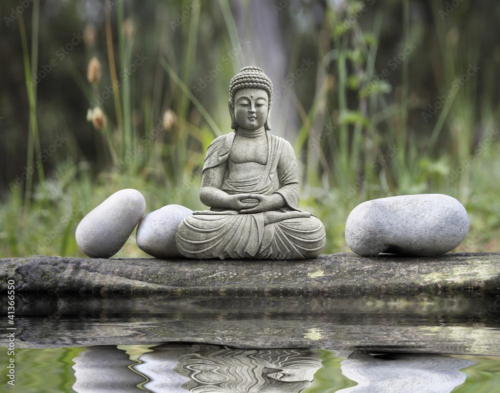 Doppelrollo mit Motiv - Statue Bouddha