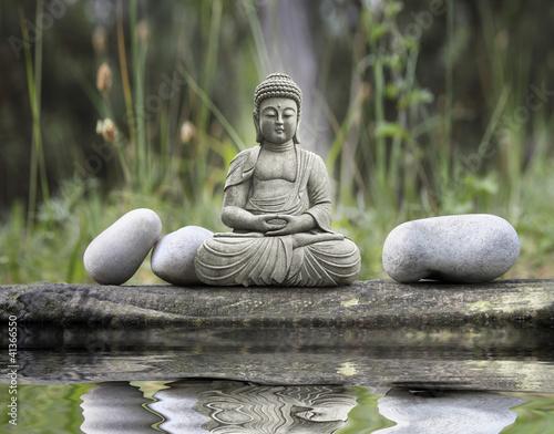 Plissee mit Motiv - Statue Bouddha