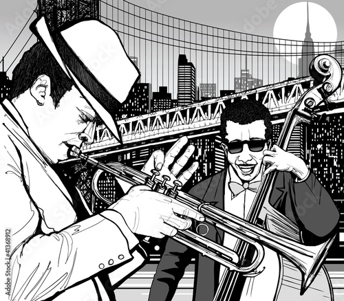 Poster Muziekband jazz in New York