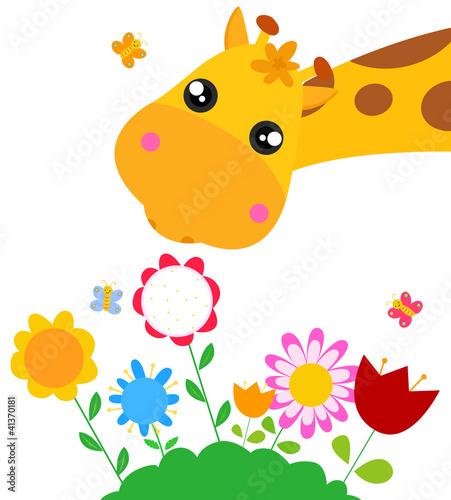 wektorowa-ilustracja-zyrafy-z-kwiatami-na-bialym-tle