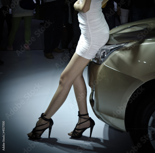 Photo Stands Fast cars unidentified model with car