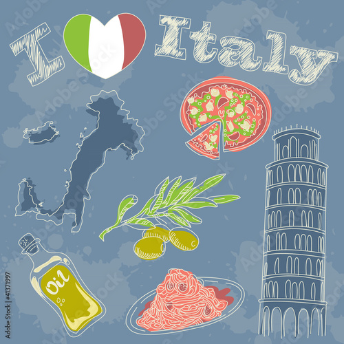 Poster Doodle Italy travel grunge card