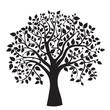 Leinwandbild Motiv black tree silhouette isolated on white background