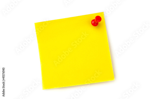 Fotografie, Obraz  Yellow pinned adhesive note