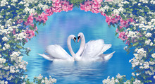 Two Swans Framed With Blooming...