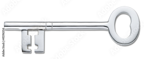 silver door key isolated on white (clipping path) Fototapet