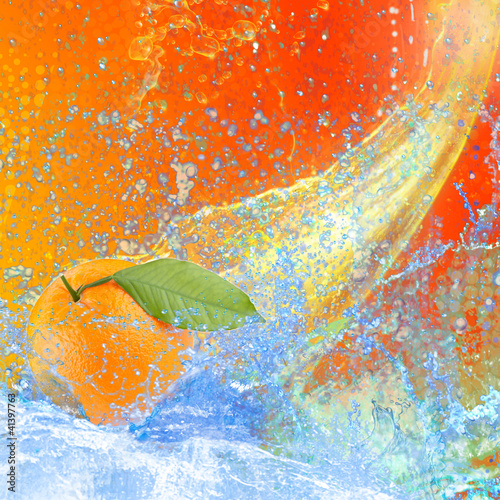 Spoed Foto op Canvas Opspattend water Orange
