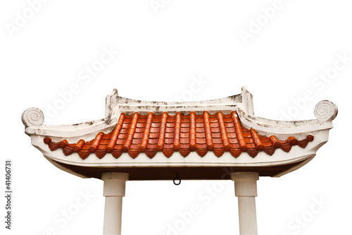 Photo  Gate of Buddhist temple on white background