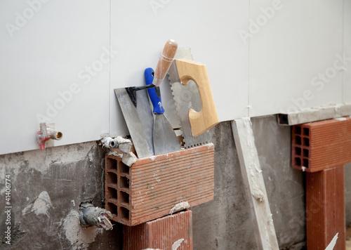 Photo  construction tools notched trowel ans spatula