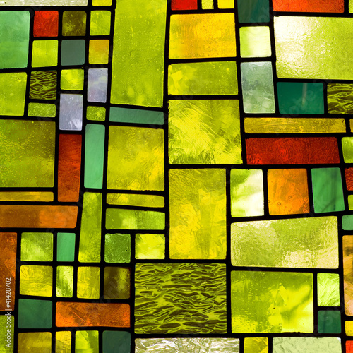 Obraz na plátně Multicolored stained glass window, square format