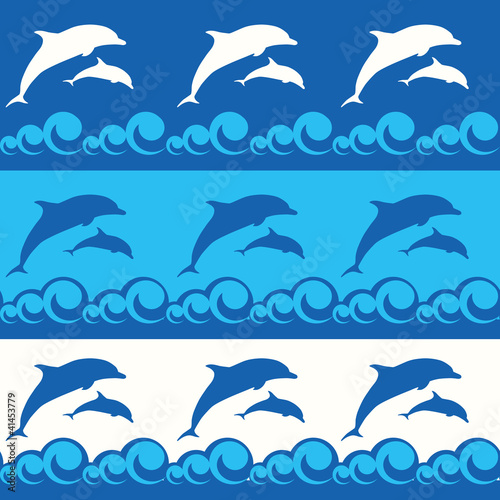 Poster Dolphins seamless pattern with dolphins