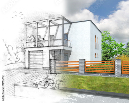 Illustration of an idea and implementation of house construction