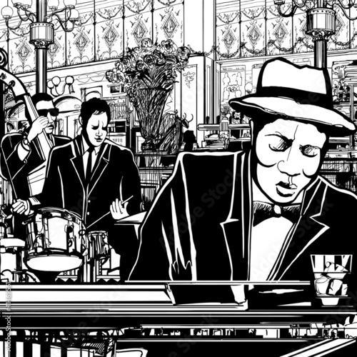 In de dag Muziekband piano-Jazz band in a restaurant