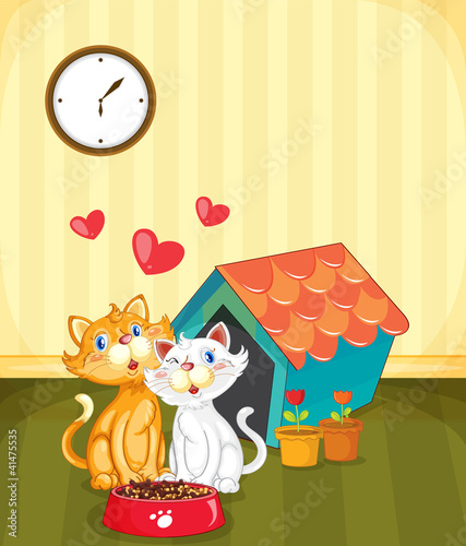 Deurstickers Katten Kittens in love
