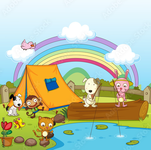 Deurstickers Honden Animals fishing