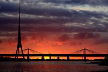 Colorful Sunset Over City Of Riga, Latvia