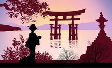 Geisha And Mount Fuji