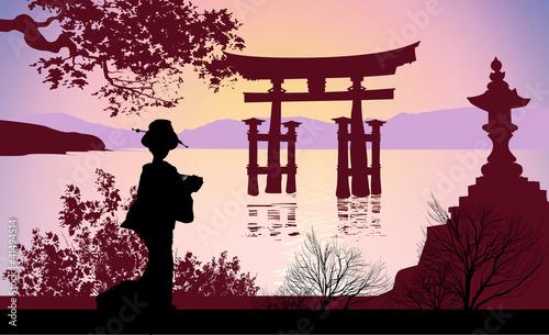Fotografia, Obraz Geisha and Mount Fuji
