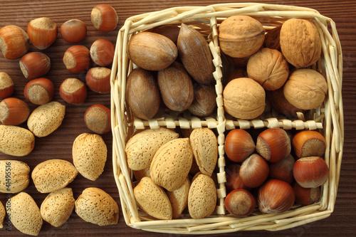 Spoed Foto op Canvas Baobab Nuts in basket.