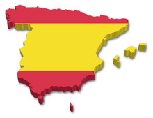 3D Spain Map With Flag