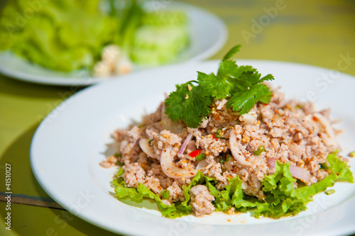 Larb chicken salad.Thai food with chicken, lime, chili, herbs Canvas Print