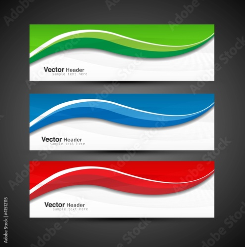 Fototapeta abstract colorful collection banners modern wave obraz