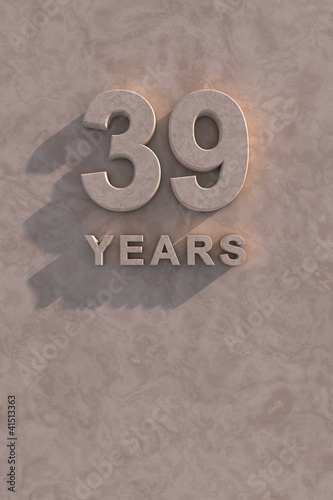 Poster  39 years 3d text