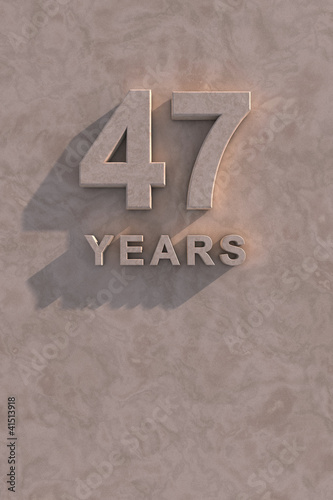 Poster  47 years 3d text