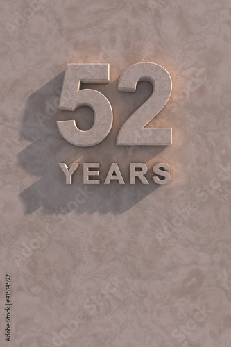 Poster  52 years 3d text
