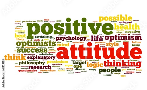 Positive attitude concept in tag cloud