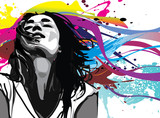 Girl with colour splash background vector - 41529365