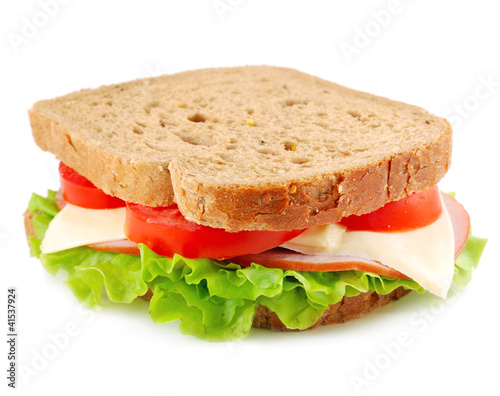 Deurstickers Snack sandwich isolated on white