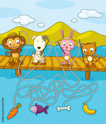 Tuinposter Honden Fishing worksheet