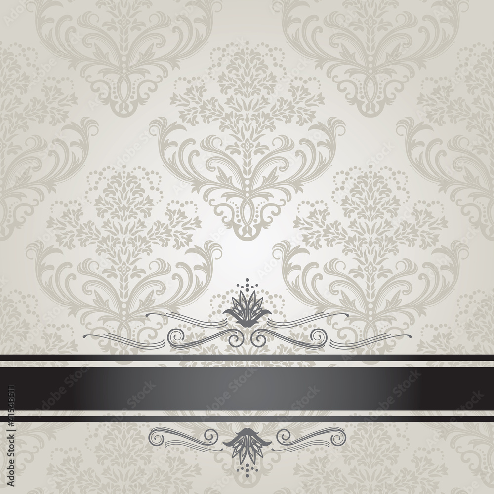 Luxury floral silver and black book cover