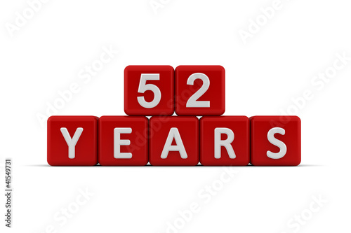 Photo  Red letter cubes 52 years