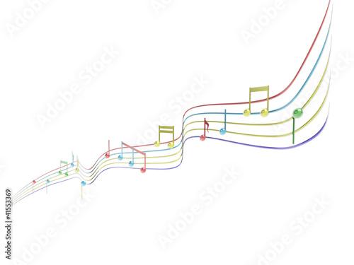 Fotografie, Obraz  Pentagramma musicale, note in musica 3d
