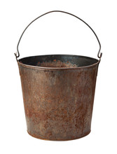 Old Rusty Bucket Isolated With...